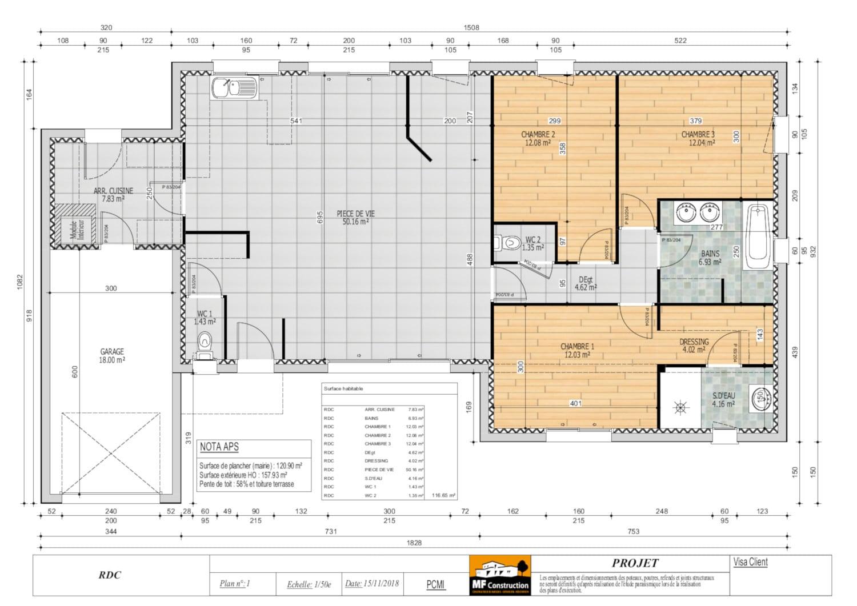 Plan Maison Plain Pied 3 Chambres Mf Construction