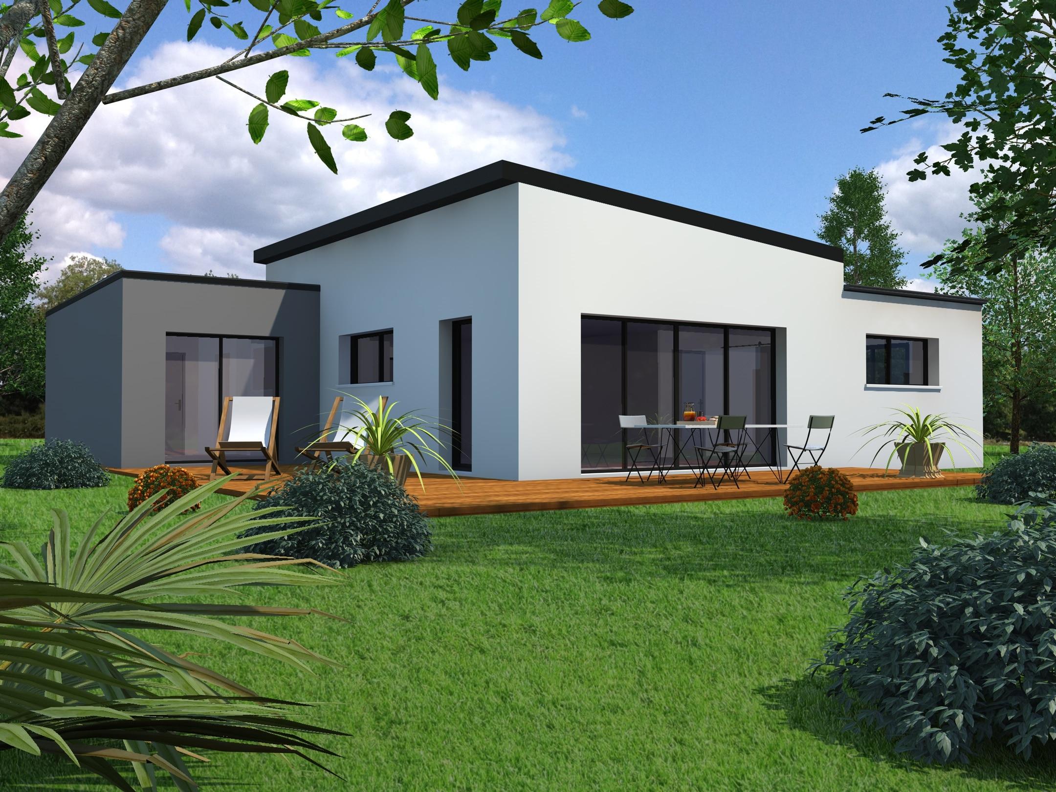 Plan Maison Plain Pied 2 chambres - MF-Construction