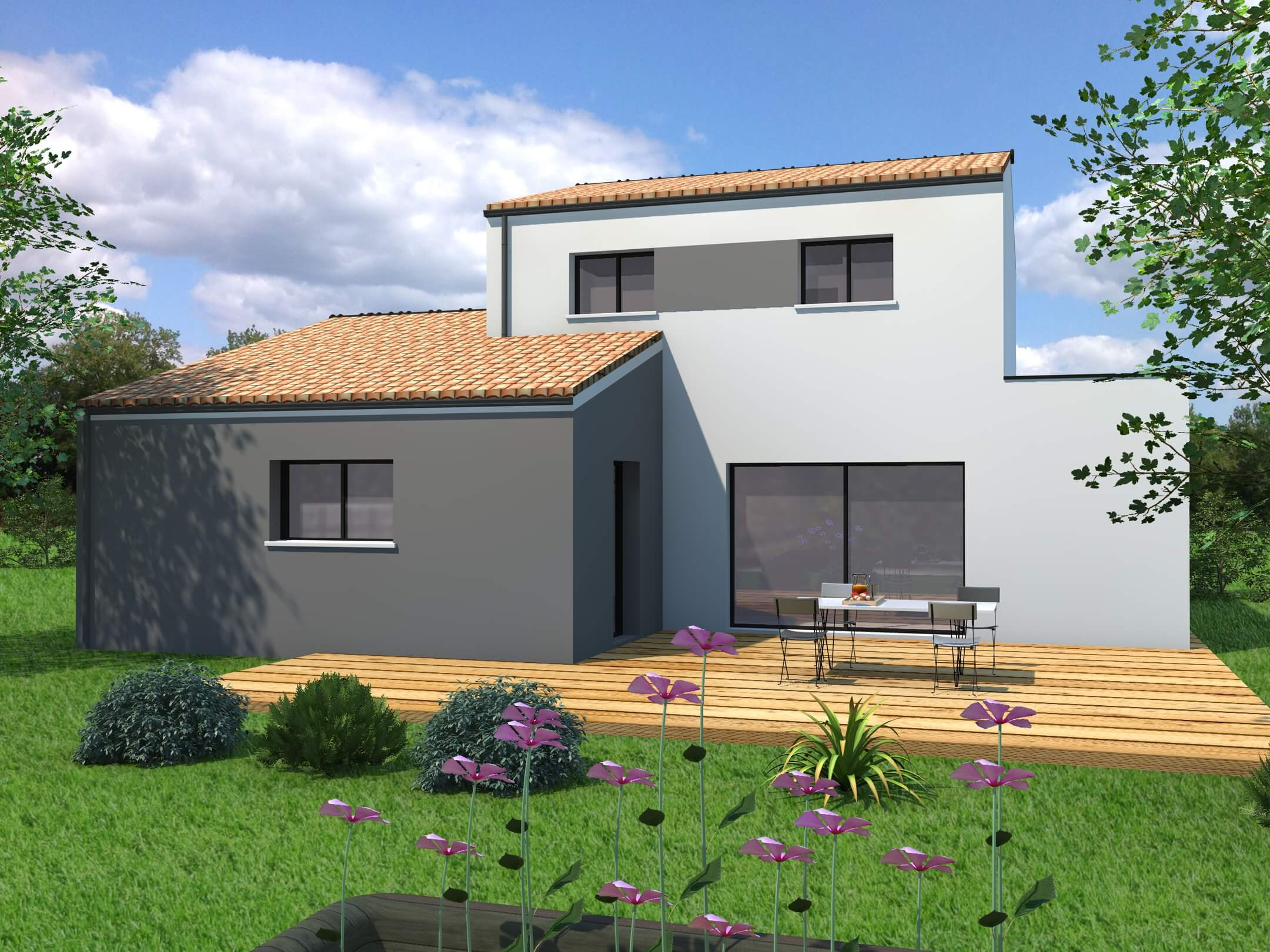 Plan Maison 3 Chambres avec étage - Moderne - MF-Construction