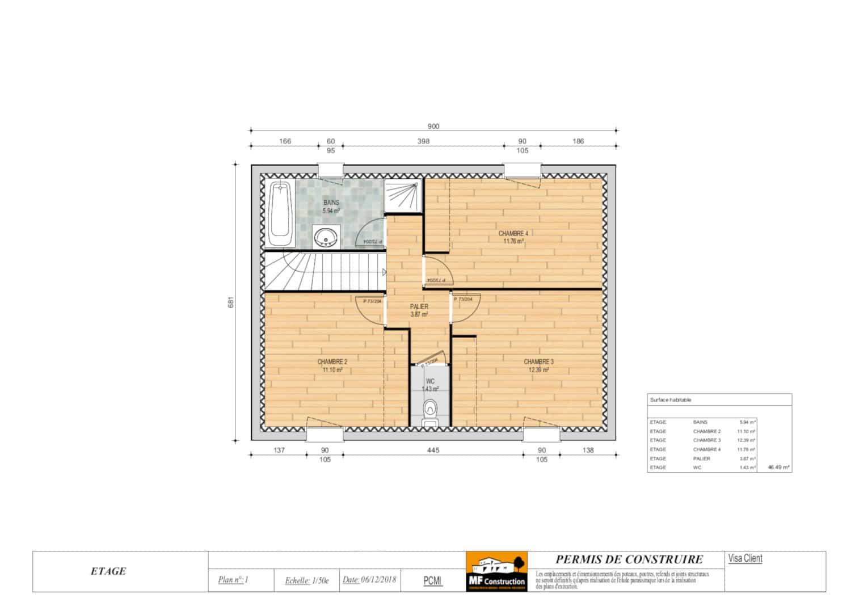 Plan maison 4 chambres avec tage mf construction - Plan etage 4 chambres ...