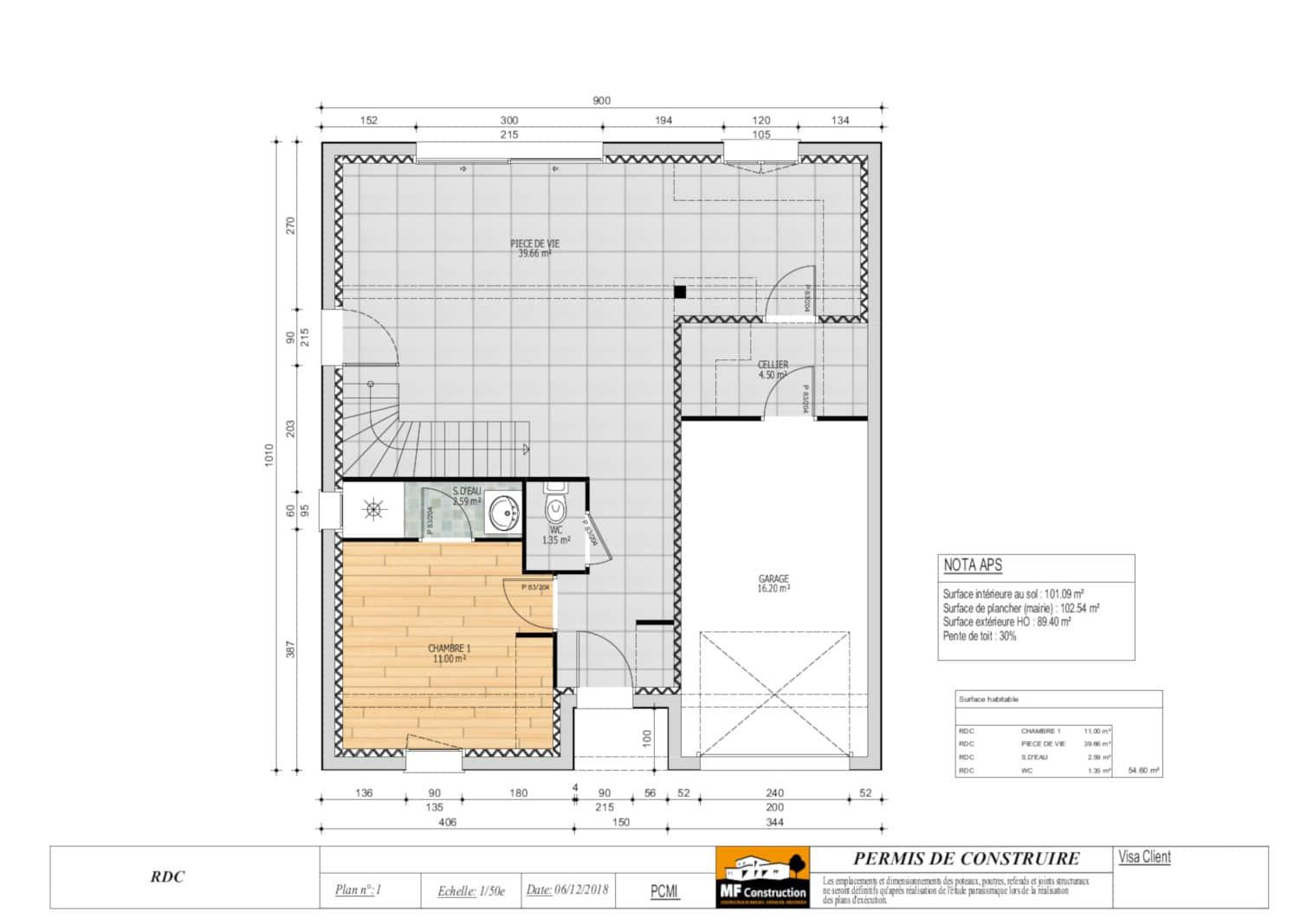 Plan Maison 4 Chambres Avec étage Mf Construction