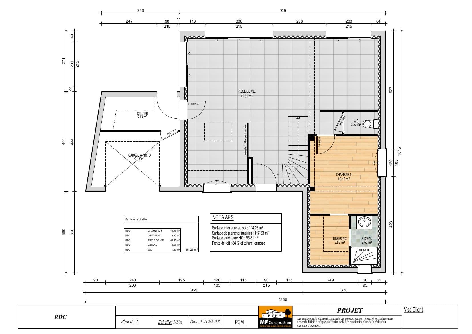 Plan Maison 110m2 avec étage - Nantes (44) - MF Construction