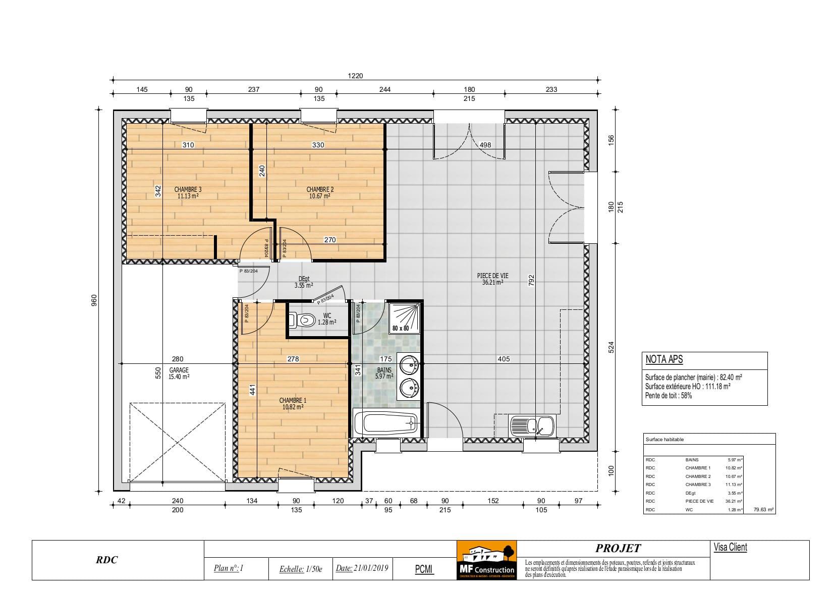 Plan Maison 80m2 Plain Pied - Nantes (44) - MF Construction