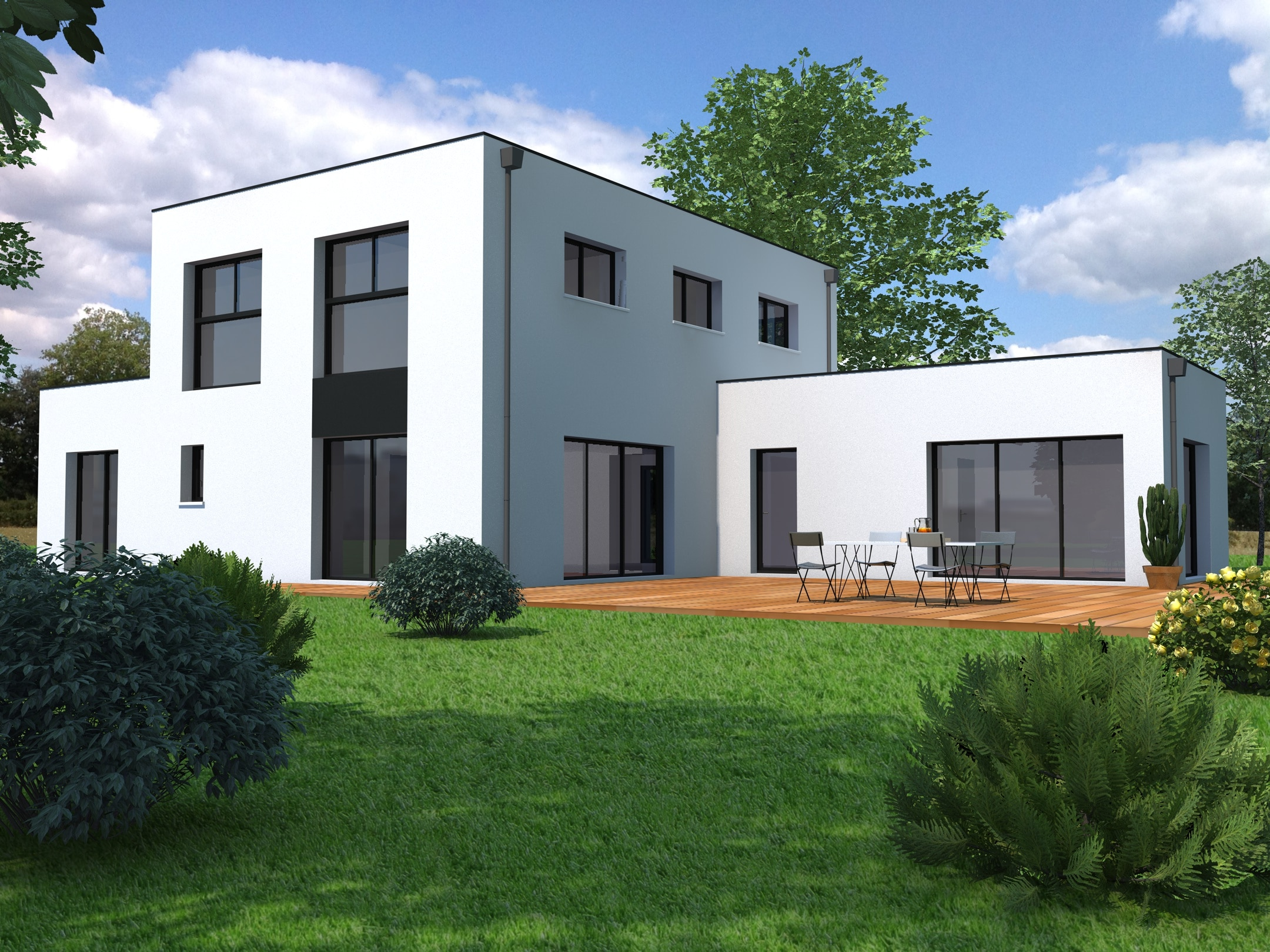 Couleur Exterieur Maison Contemporaine maison moderne sur-mesure - loire-atlantique (44) - mf