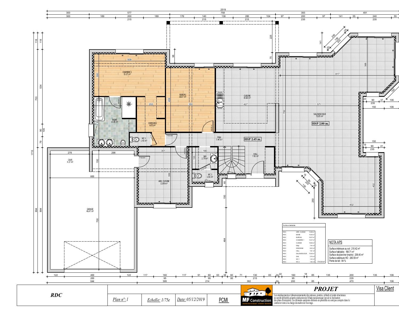 Plan Maison 200m2 avec Etage - Nantes (44) - MF Construction