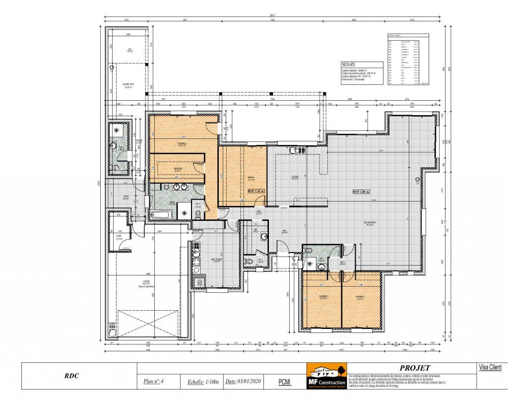 Plan Maison 220m2 Plain Pied Nantes 44 Mf Construction