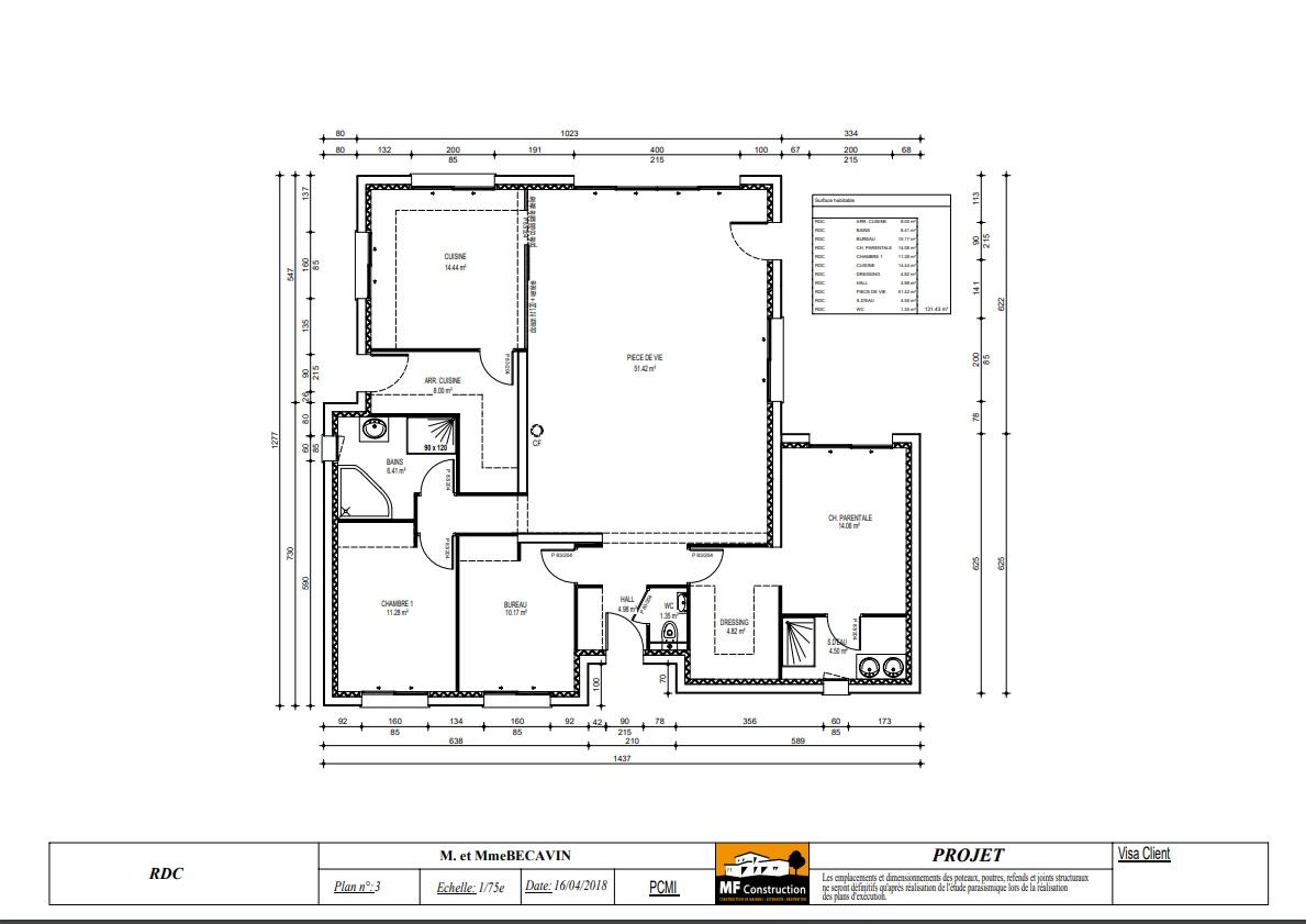 Plan Maison Plain Pied 2 Chambres Mf Construction